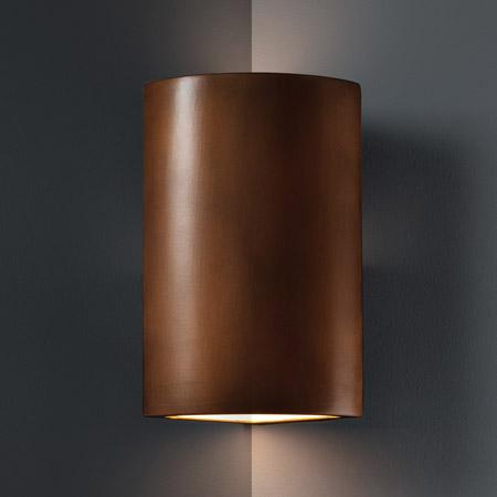 Justice Design CER-1885-ANTC Ambiance Cylinder Corner Sconce