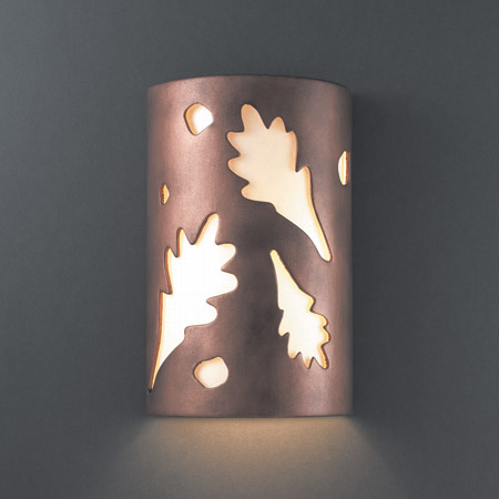 Justice Design CER-5470W-ANTC Ambiance Large ADA Oak Leaves Outdoor Wall Sconce