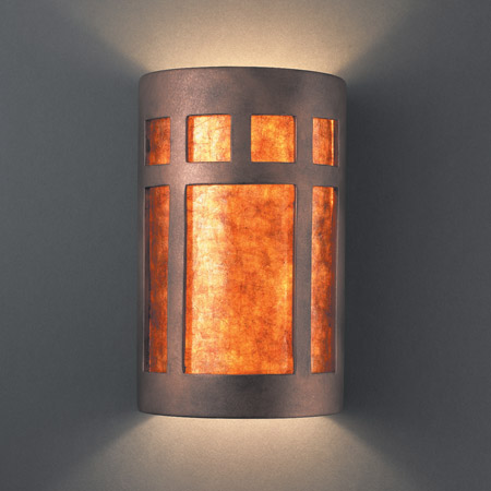 Justice Design CER-7355-ANTC-MICA Ambiance Large Prairie Window Wall Sconce