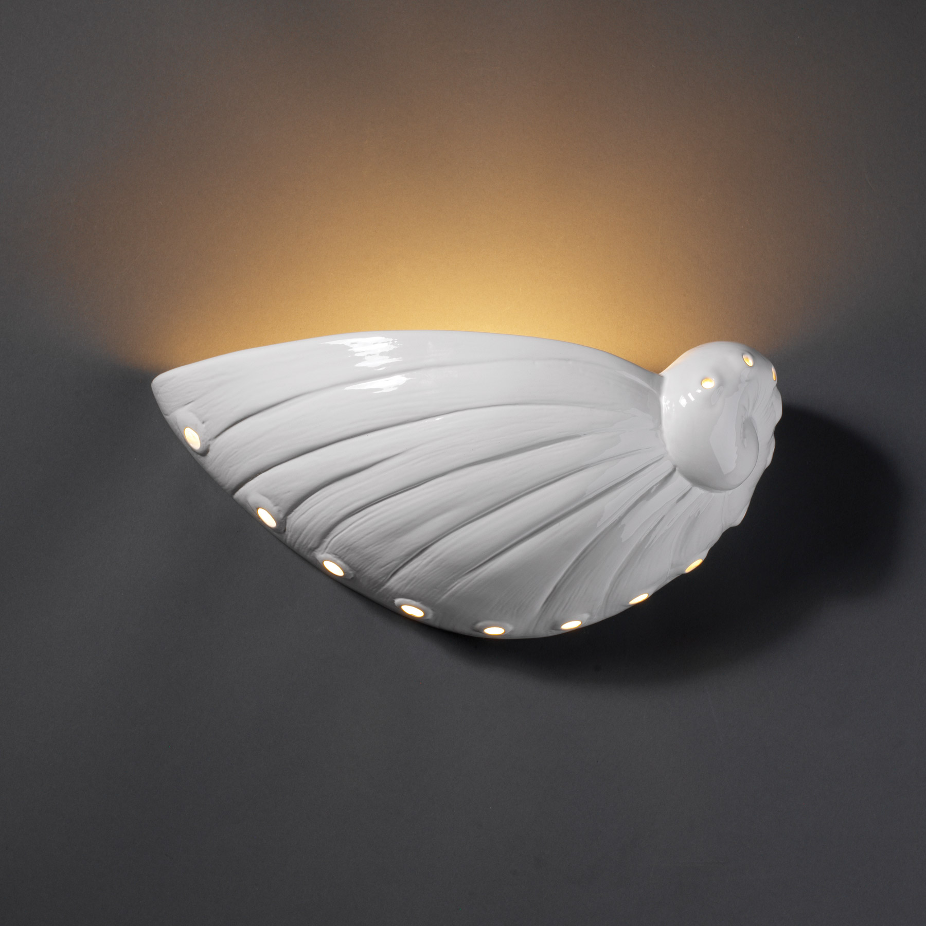 Justice Design Cer 3720 Wht Ambiance Abalone Shell Wall Sconce