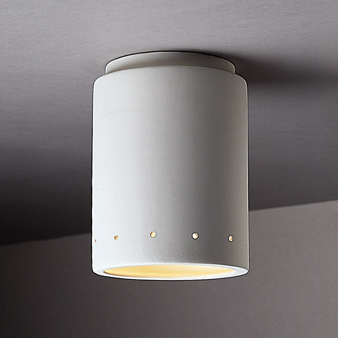 Justice Design CER 6105W BIS Radiance Cylinder Outdoor Flush Mount Ceiling  Fixture