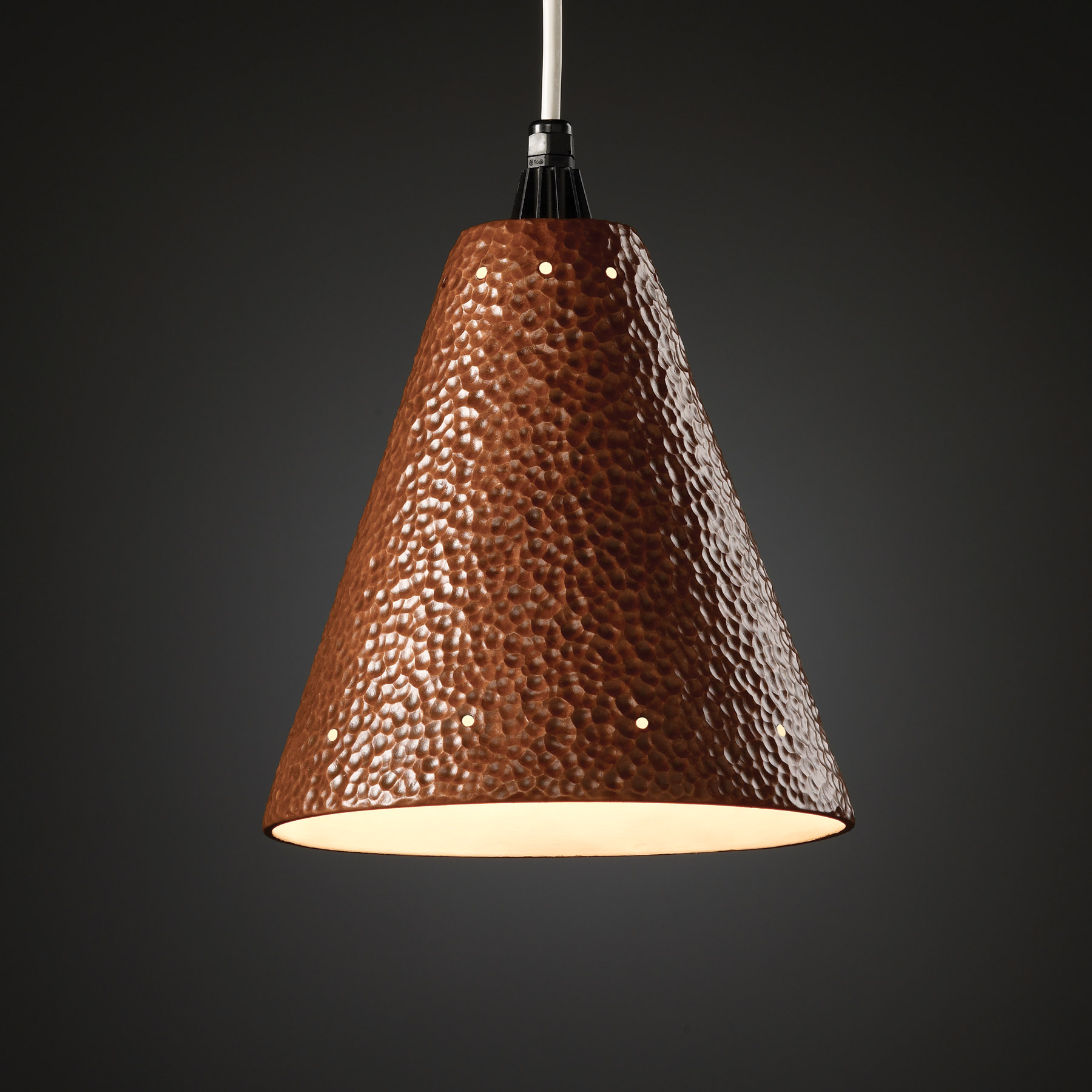 Justice Design Cer 6225 Hmcp Wtcd Radiance Cone Mini Pendant With Perforations