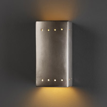 Justice Design CER-0925W-ANTS Ambiance Small Rectangle Outdoor Wall Sconce With Perforations