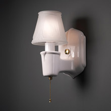 Justice Design CER-7150-WHT-BRSS American Classics Chateau Clip-On Shade Wall Sconce