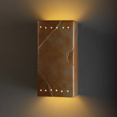 Ambiance Large Rectangle Outdoor Wall Sconce With Perforations - Justice Design CER-0965W-SLTR