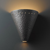 Contemporary Ambiance Cut Cone Wall Sconce With Perforations - Justice Design CER-2495-HMIR