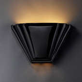 Art Deco Ambiance Alas Wall Sconce - Justice Design CER-2700-BLK
