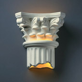Traditional Ambiance Corinthian Column Outdoor Wall Sconce - Justice Design CER-4705W-BIS