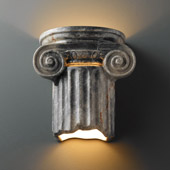 Traditional Ambiance Ionic Column Outdoor Wall Sconce - Justice Design CER-4715W-STOS