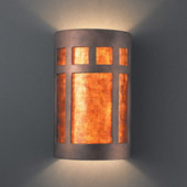 Craftsman/Mission Ambiance Small ADA Prairie Window Wall Sconce - Justice Design CER-5345-ANTC-MICA