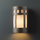Craftsman/Mission Ambiance Large ADA Prairie Window Outdoor Wall Sconce - Justice Design CER-5350W-HMBR