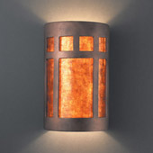 Craftsman/Mission Ambiance Large ADA Prairie Window Wall Sconce - Justice Design CER-5355-ANTC-MICA