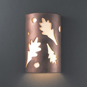 Casual Ambiance Small ADA Oak Leaves Outdoor Wall Sconce - Justice Design CER-5460W-ANTC