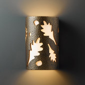 Casual Ambiance Small ADA Oak Leaves Wall Sconce - Justice Design CER-5465-HMBR