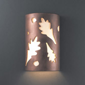 Casual Ambiance Large ADA Oak Leaves Outdoor Wall Sconce - Justice Design CER-5470W-ANTC