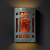 Craftsman/Mission Ambiance Small ADA Craftsman Window Wall Sconce - Justice Design CER-5485-PATV-MICA