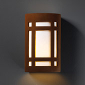 Craftsman/Mission Ambiance Large ADA Craftsman Window Outdoor Wall Sconce - Justice Design CER-5490W-RRST