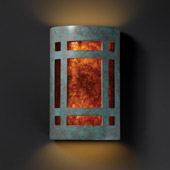 Craftsman/Mission Ambiance Large ADA Craftsman Window Wall Sconce - Justice Design CER-5495-PATV-MICA