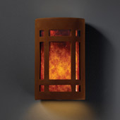 Craftsman/Mission Ambiance Large ADA Craftsman Window Wall Sconce - Justice Design CER-5495-RRST-MICA