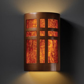 Craftsman/Mission Ambiance Small Cross Window Wall Sconce - Justice Design CER-7285-ANTC-MICA