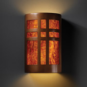 Craftsman/Mission Ambiance Large Cross Window Wall Sconce - Justice Design CER-7295-ANTC-MICA