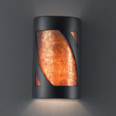 Transitional Ambiance Small Lantern Wall Sconce - Justice Design CER-7325-CRB-MICA