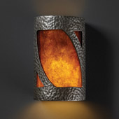 Transitional Ambiance Small Lantern Wall Sconce - Justice Design CER-7325-HMPW-MICA