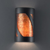 Transitional Ambiance Large Lantern Wall Sconce - Justice Design CER-7335-CRB-MICA