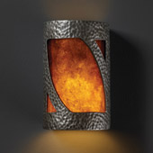 Transitional Ambiance Large Lantern Wall Sconce - Justice Design CER-7335-HMPW-MICA