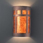 Craftsman/Mission Ambiance Small Prairie Window Wall Sconce - Justice Design CER-7345-ANTC-MICA