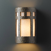 Craftsman/Mission Ambiance Small Prairie Window Outdoor Wall Sconce - Justice Design CER-7345W-HMBR
