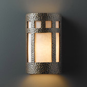 Craftsman/Mission Ambiance Large Prairie Window Outdoor Wall Sconce - Justice Design CER-7355W-HMBR