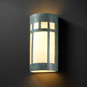 Craftsman/Mission Ambiance Really Big Prairie Window Outdoor Wall Sconce - Justice Design CER-7357W-PATV