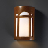 Craftsman/Mission Ambiance Small Arch Window Wall Sconce - Justice Design CER-7385-PATR