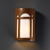 Craftsman/Mission Ambiance Small Arch Window Outdoor Wall Sconce - Justice Design CER-7385W-PATR