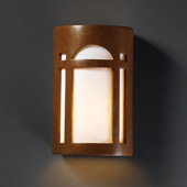 Craftsman/Mission Ambiance Large Arch Window Outdoor Wall Sconce - Justice Design CER-7395W-PATR