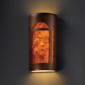 Craftsman/Mission Ambiance Really Big Arch Window Wall Sconce - Justice Design CER-7397-ANTC-MICA
