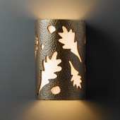 Casual Ambiance Small Oak Leaves Wall Sconce - Justice Design CER-7465-HMBR