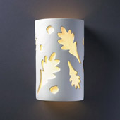 Casual Ambiance Small Oak Leaves Outdoor Wall Sconce - Justice Design CER-7465W-BIS