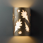 Casual Ambiance Small Oak Leaves Outdoor Wall Sconce - Justice Design CER-7465W-HMBR