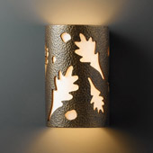 Casual Ambiance Large Oak Leaves Wall Sconce - Justice Design CER-7475-HMBR