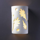 Casual Ambiance Large Oak Leaves Outdoor Wall Sconce - Justice Design CER-7475W-BIS