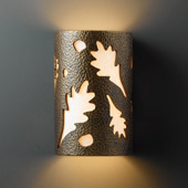 Casual Ambiance Large Oak Leaves Outdoor Wall Sconce - Justice Design CER-7475W-HMBR
