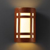 Craftsman/Mission Ambiance Small Craftsman Window Wall Sconce - Justice Design CER-7485-HMCP