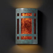 Craftsman/Mission Ambiance Small Craftsman Window Wall Sconce - Justice Design CER-7485-PATV-MICA
