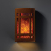 Craftsman/Mission Ambiance Small Craftsman Window Wall Sconce - Justice Design CER-7485-RRST-MICA