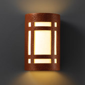 Craftsman/Mission Ambiance Small Craftsman Window Outdoor Wall Sconce - Justice Design CER-7485W-HMCP