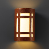Craftsman/Mission Ambiance Large Craftsman Window Wall Sconce - Justice Design CER-7495-HMCP