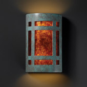 Craftsman/Mission Ambiance Large Craftsman Window Wall Sconce - Justice Design CER-7495-PATV-MICA