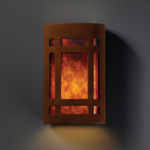 Craftsman/Mission Ambiance Large Craftsman Window Wall Sconce - Justice Design CER-7495-RRST-MICA